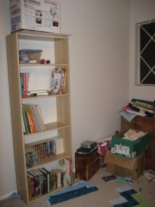 Partially empty bookshelf