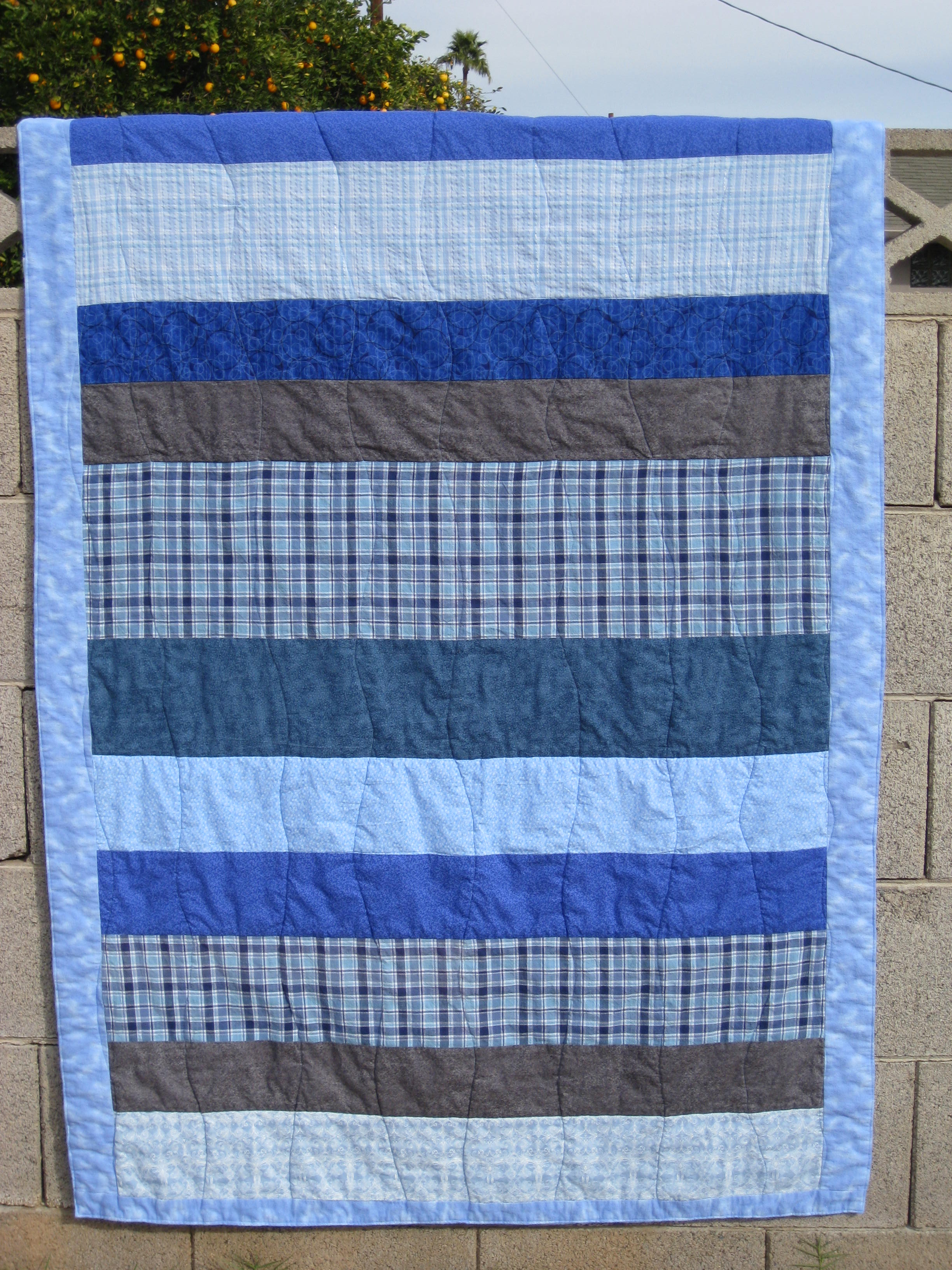 Plaid Baby Quilt: Baby Quilt: Blue And Gray, Stripes And Plaid