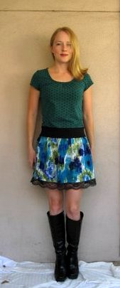 blue & green watercolor skirt after straight on