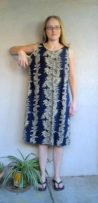 navy hawaiian print dress before