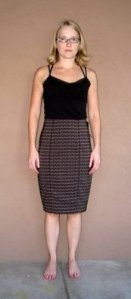 brown herringbone skirt before
