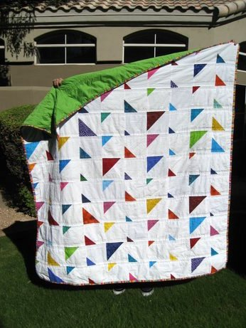 triangles quilt back corner