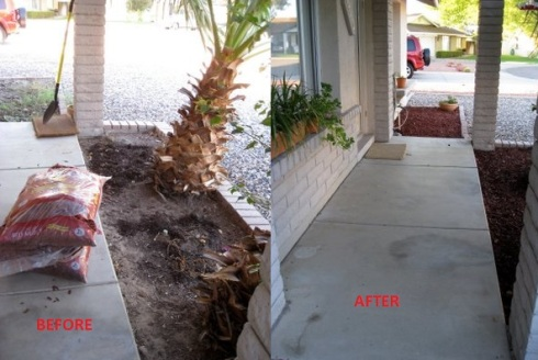 Front bed before and after