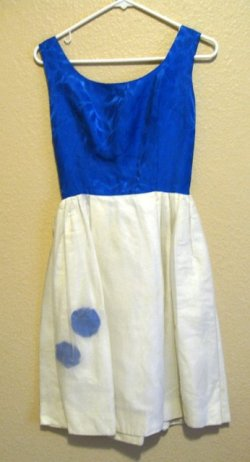mom dress blue and cream