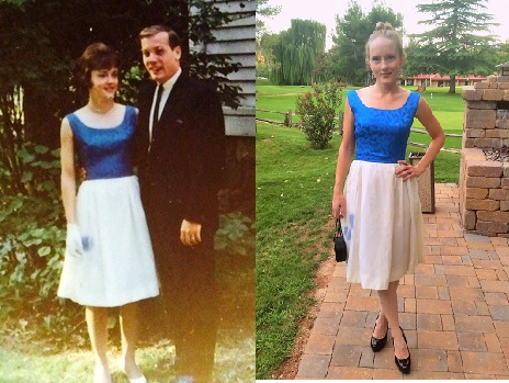 Mom's bright blue and white dress 1966 - single picture