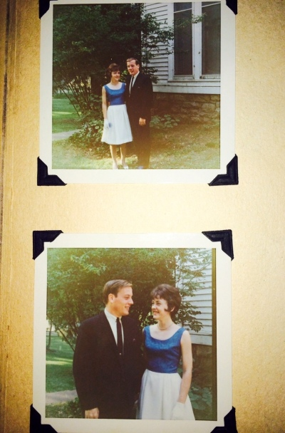 Mom's bright blue and white dress 1966 - two pictures
